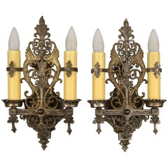 Antique Pair of 1920s Double Sconces with Dragon Motif and Original Finish