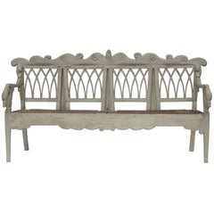 Gustavian Carved Swan Bench