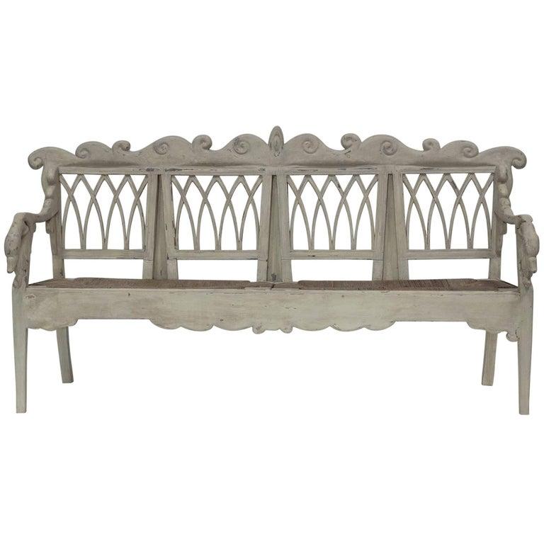 Gustavian Carved Swan Bench