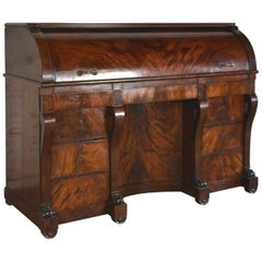 Large French Neoclassical Mahogany Roll-Top Desk