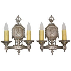 Pair of Spanish Revival 1920s Silver Toned Double Sconces with Original Finish