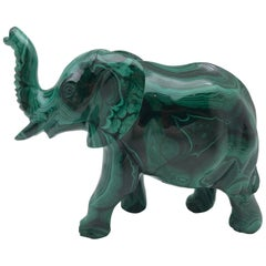 Large Malachite Elephant, Carved in India