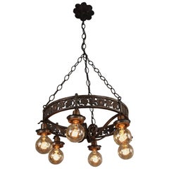 Antique Six-Light Chandelier with Grape Motif Oscar Bach Attributed, circa 1920s