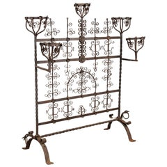 Very Early Antique Spanish Revival Detailed Wrought Iron Fire Screen