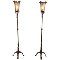 Pair of 1920s Spanish Revival Torchieres with Dragon Motif Attributed Oscar Bach