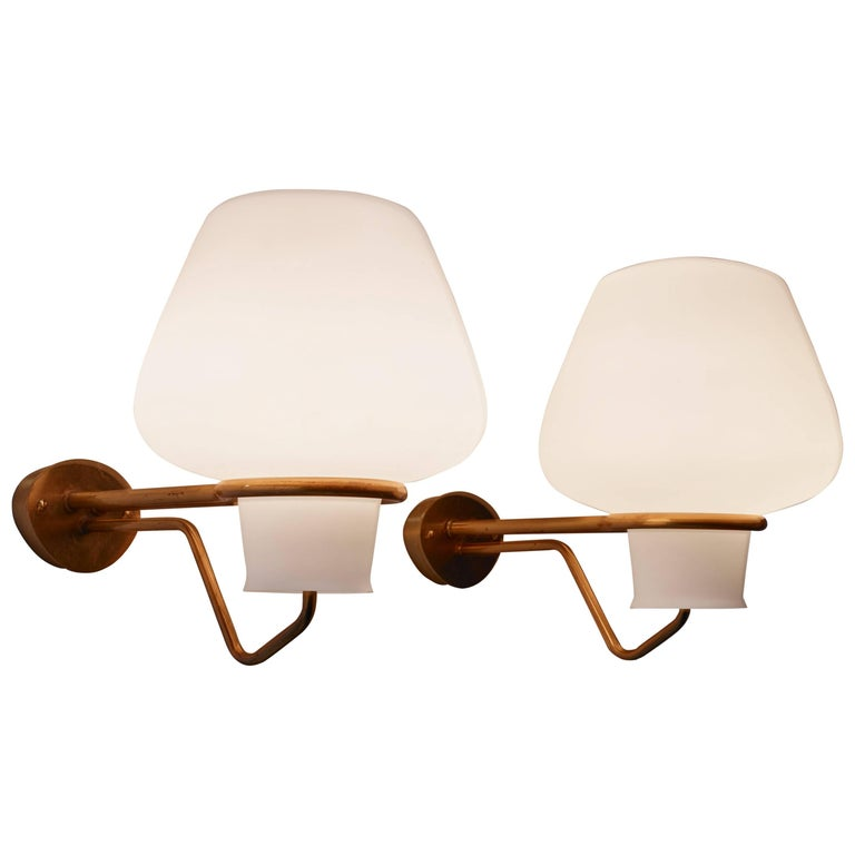 Gunnar Asplund Pair of Brass and Opaline Glass Sconces, Sweden, 1950s For Sale