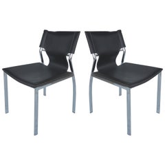 Chrome and Leather Side Chairs with Contrasting White Stitching