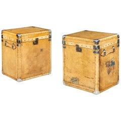 Unusual Pair of Vintage Luggage Box Trunks