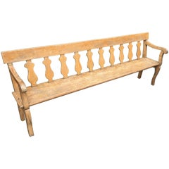 19th Century French Painted Hall Bench