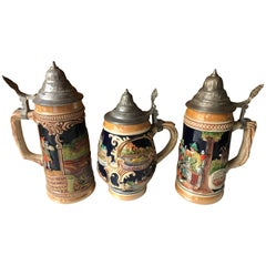 Set of Three Vintage German Beer Steins