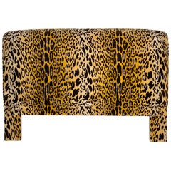 Leopard Velvet Upholstered Queen Headboard