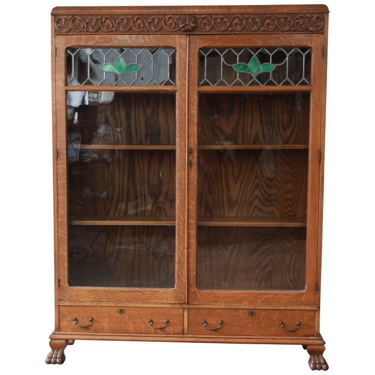 Antique Carved Oak Bookcase with Leaded Stained Glass Doors, circa 1900