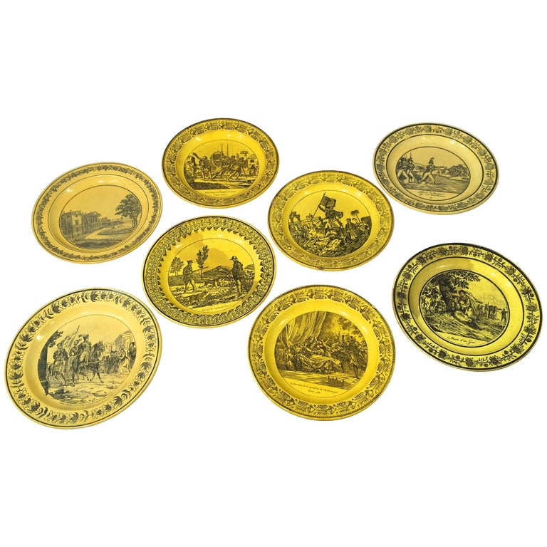 Group of Eight Yellow Creil et Montereau Plates, French Empire For Sale