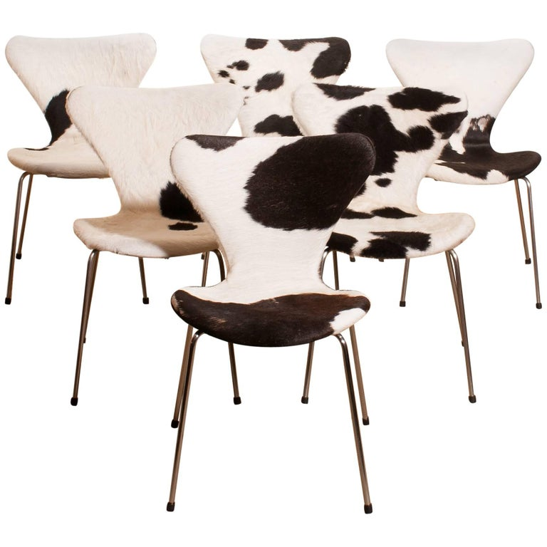 1950s, Cow Fur Leather Model 3107 Dining Chairs by Arne Jacobsen & Fritz Hansen 1