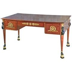 French 19th Century Empire Mahogany Partners Desk