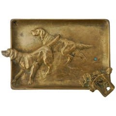 Pin Dish Ashtray with Hunting Dogs French Gilded Bronze English, circa 1920
