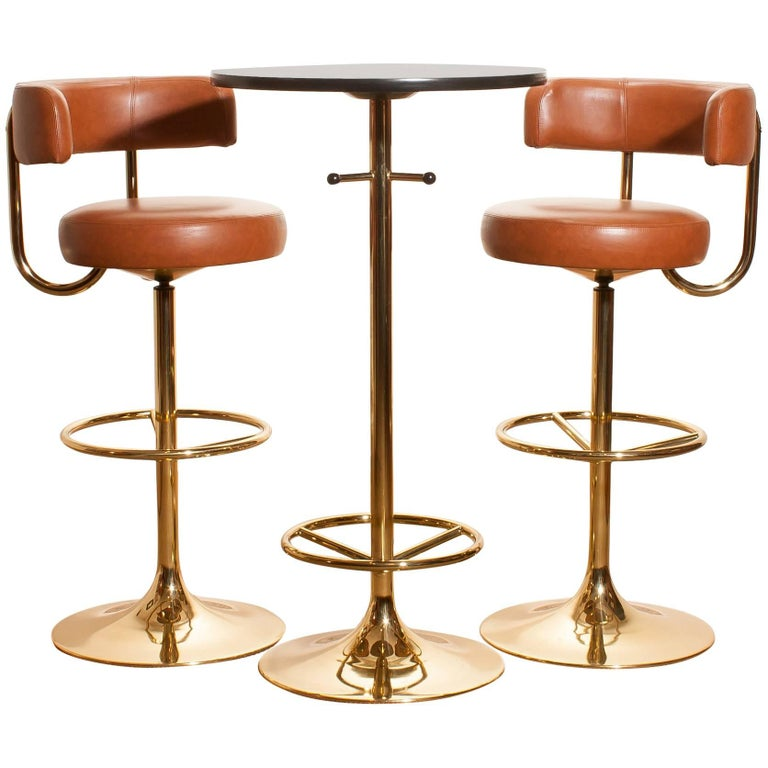 1970s, a Brass Set of Bar Stools and Bar Table by Börje Johanson For Sale