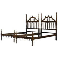 Pair of Twin Beds Portuguese Spiral Turned Wood Beds Early 20th Century