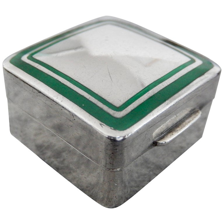 1970s Cartier Sterling Silver and Enamel Pillbox For Sale