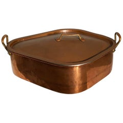 French Copper Flounder Pot with Superb Fitted Grate, Tinned