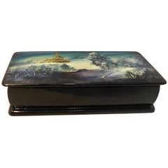Hand-Painted Russian Lacquer Box with Mother of Pearl Snow Scene