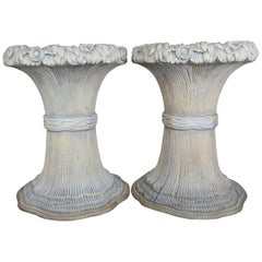 Carved Wood Harvest Wheat Planters, Pair
