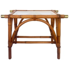 Mid-Century Campaign Style Rattan & Brass Glass Top Table by Ficks Reed