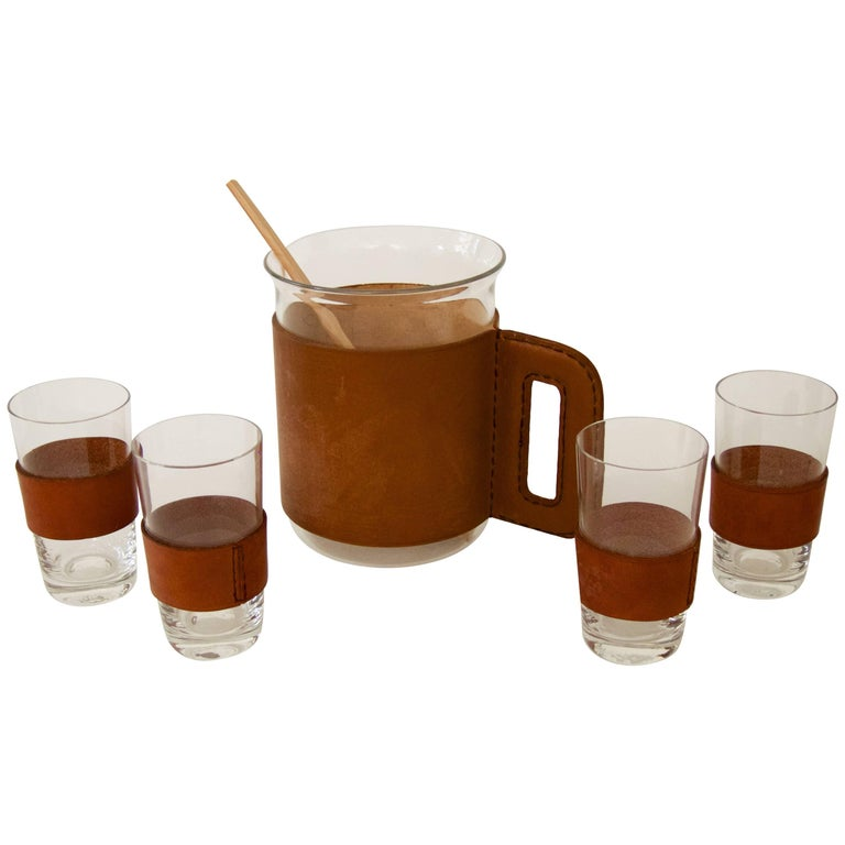 Pitcher with Four Glasses and a Bamboo Muddler For Sale
