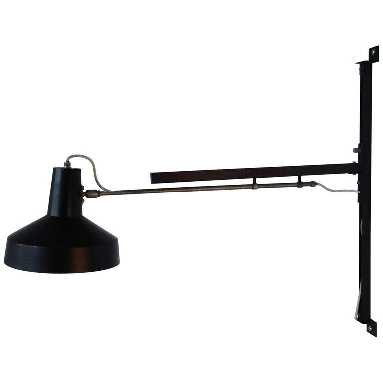 Black Telescopic Wall Lamp by Hiemstra Evolux Dutch Design, Netherlands, 1960s
