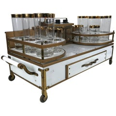 Midcentury Italian Regency Portable Tabletop Bar Caddy