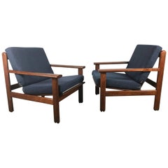 Pair of Danish Modern Paddle Arm Lounge Chairs, Poul Volther, Denmark