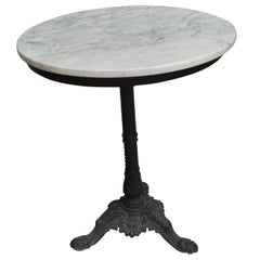 Black Wrought Iron Round French Bistro Table with a White Marble Top