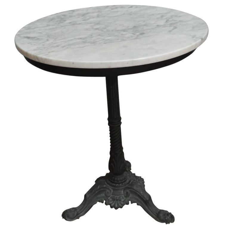 Marble Bistro Accent Table: Black Wrought Iron Round French Bistro Table With A White