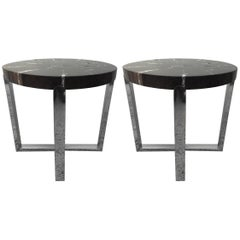 Pair of Petrified Wood Black & Crème Vein Top Chrome Handmade Petite Side Tables