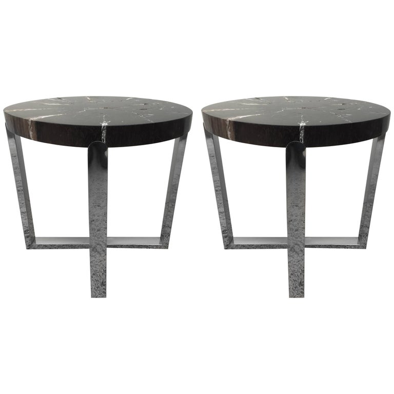 Pair of Petrified Wood Black & Crème Vein Top Chrome Handmade Petite Side Tables For Sale