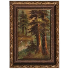 Antique 1920s Landscape of California Redwoods Forest Scene in Original Frame