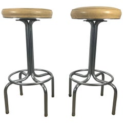 Pair of Art Deco Chrome Bar or Counter Stools Wolfgang Hoffmann for Howell