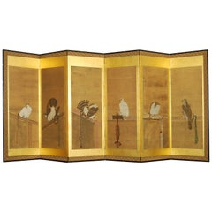 Antique Japanese Six-Panel Screen with Soga School Paintings of Hawks
