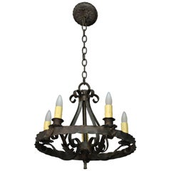 1920s Rancho Monterey Period Chandelier with Simple Iron Design