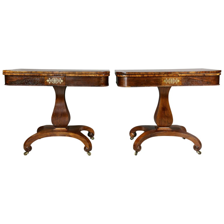 Pair of Late Regency Rosewood and Brass Inlaid Games Tables