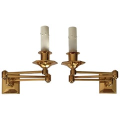 Pair of Gilt Brass Wall Mount Swing Arm Articulated Sconces