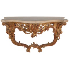 Ornately Carved Wall-Mounted Console Table, Early 20th Century