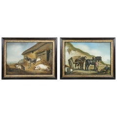 Pair of George III Sandpaper Pictures in Period Frames