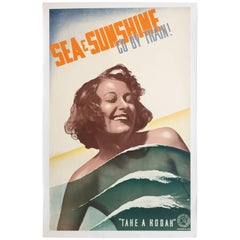 Original Vintage Poster Australia Sea & Sunshine 1930 Australian Woman Swimming