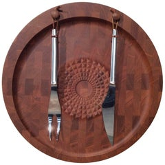 Digsmed Danish Modern Teak Carving Board with Utensils, Mid-Century Modern