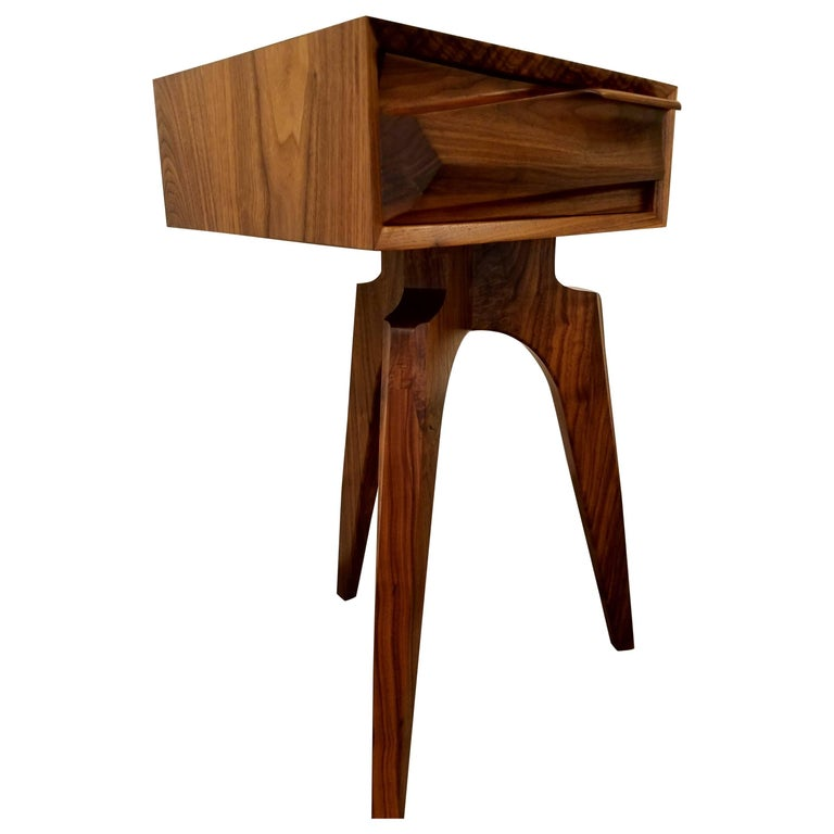 California Artisan Figured Walnut End Table