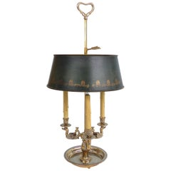 19th Century Silvered Bronze Bouillotte Three-Arm Lamp with Stenciled Tole Shade