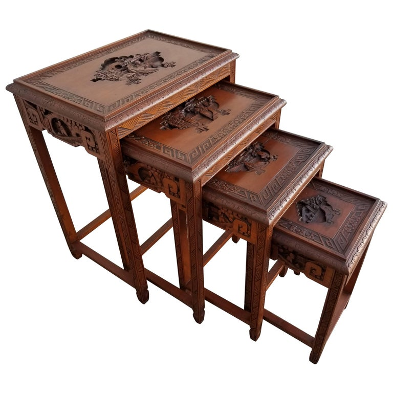 Carved Chinese Nesting Tables Set of Four