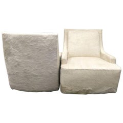 New Pair of Barbara Barry Scoop Swivel Cowhide Chairs for HBF