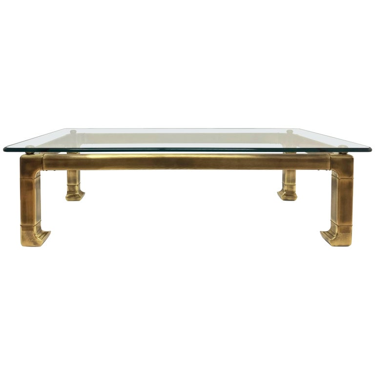Rectangular Lacquered Brass Coffee Table With Asian